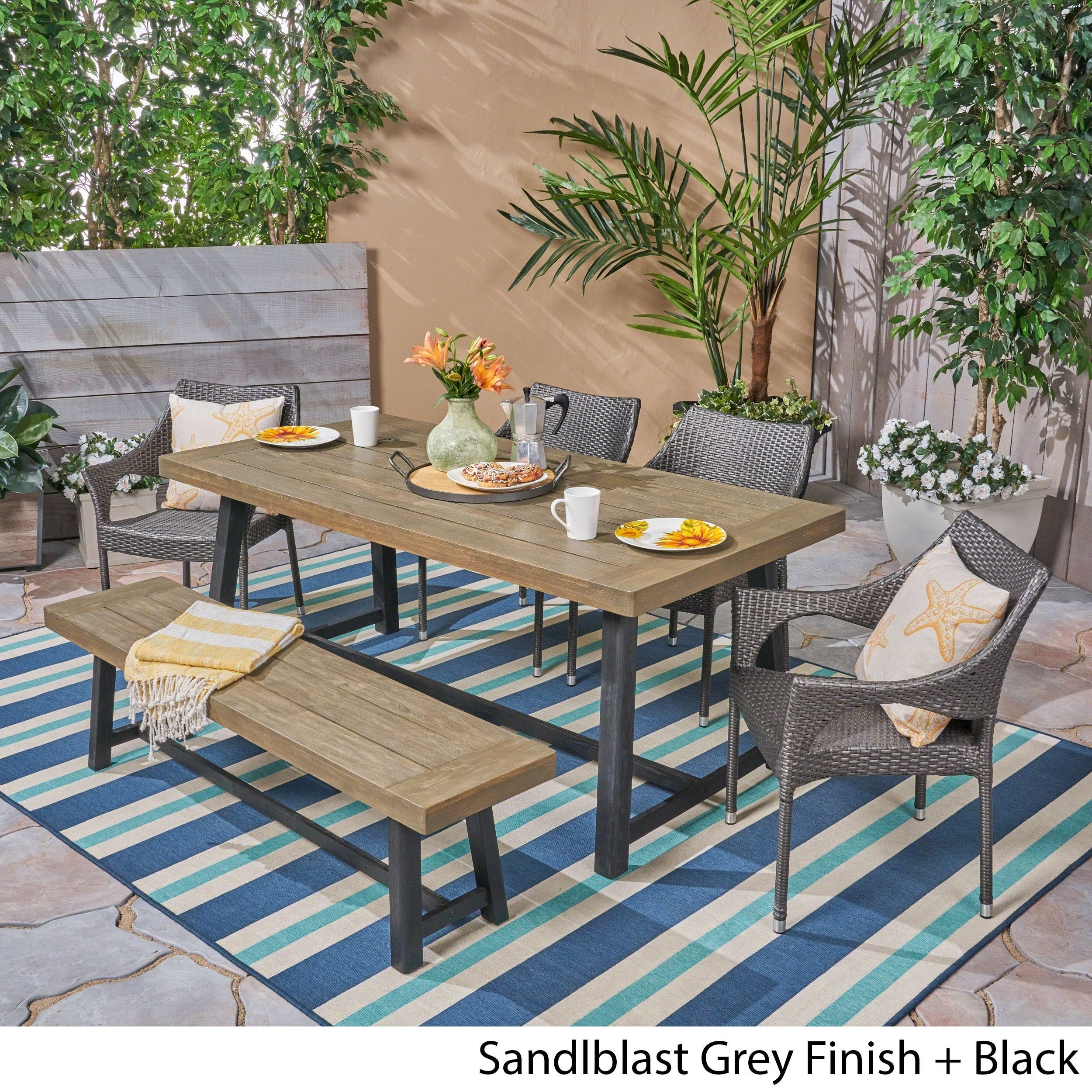 Brecken Outdoor 6 Piece Wood And Wicker Dining Set With Stacking Chairs And Benchchristopher Knight Home With Brecken Teak Garden Benches (View 8 of 25)
