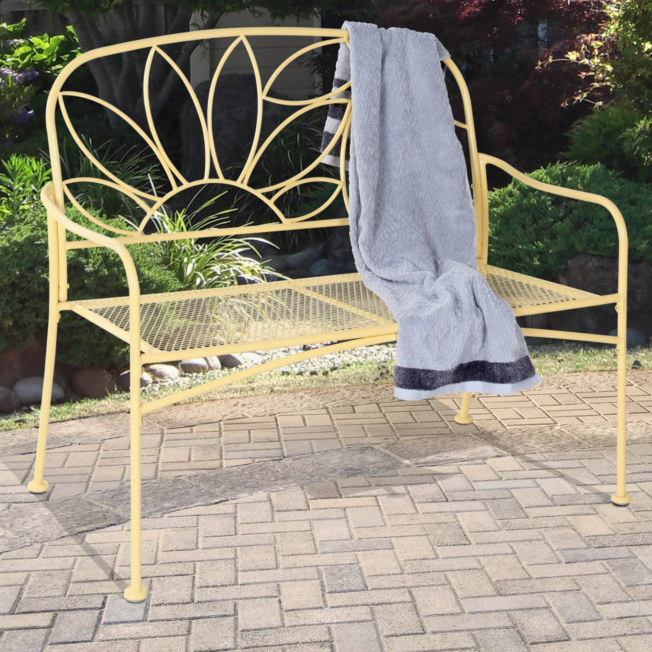 Bright And Fun Metal Garden Bench Pertaining To Cavin Garden Benches (View 22 of 25)