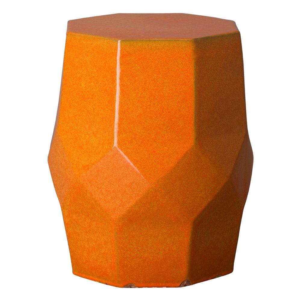 Bright Orange Octagon Matrix Garden Stool – Seven Colonial With Jadiel Ceramic Garden Stools (View 6 of 25)