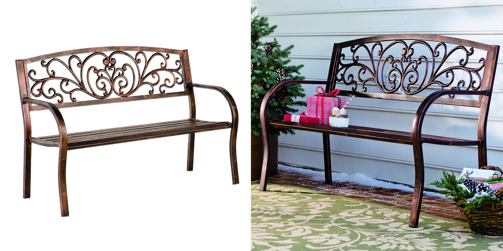 Bronze Finish Blooming Garden Bench — Homebnc In Blooming Iron Garden Benches (View 21 of 25)