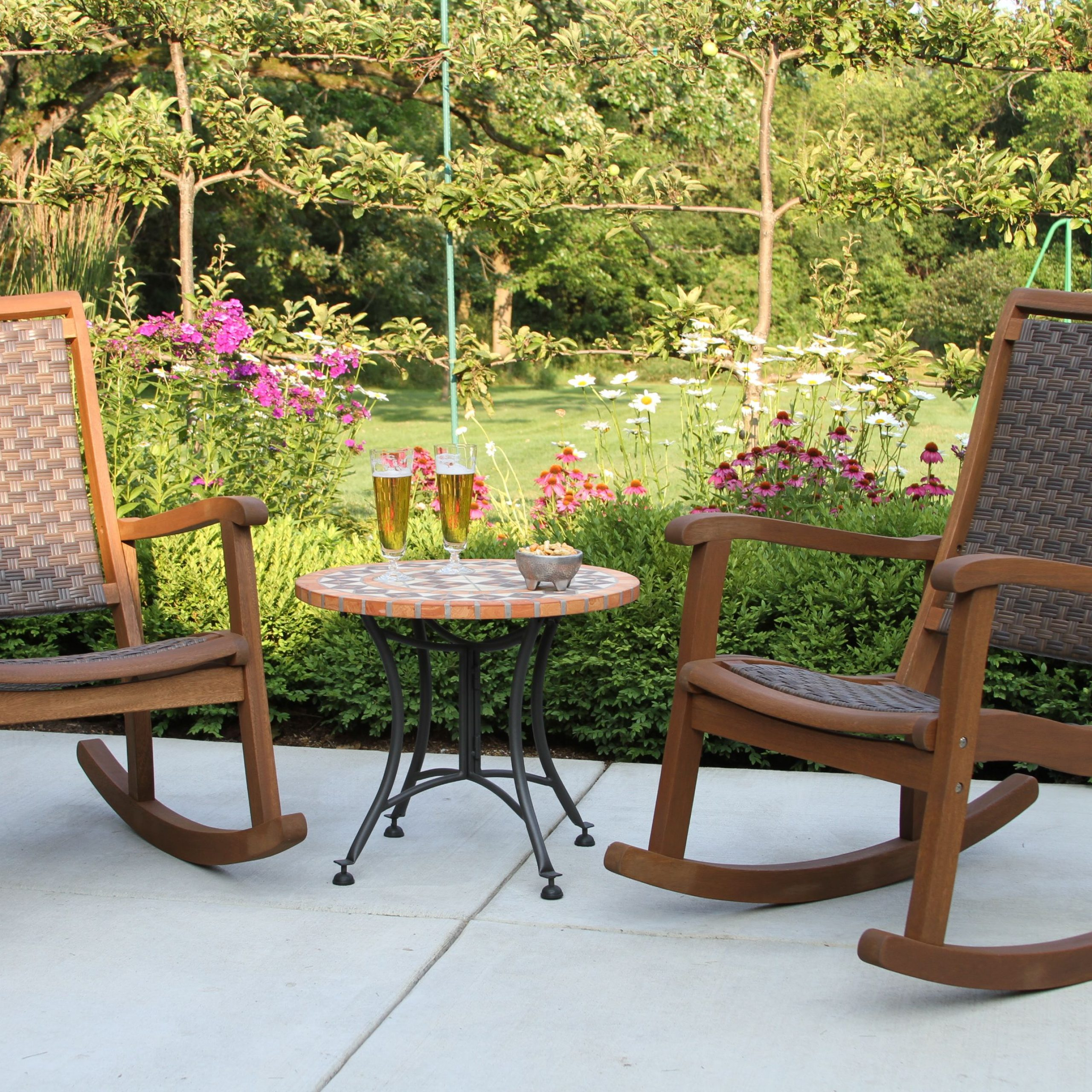 Brown All Weather Wicker & Eucalyptus Rocking Chairs & Terra With Regard To Lublin Wicker Tete A Tete Benches (View 10 of 25)