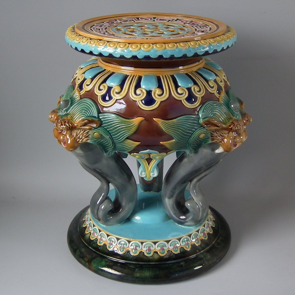 Brown Westhead Moore And Co Majolica Garden Seat – Id#21558 Pertaining To Williar Cherry Blossom Ceramic Garden Stools (View 22 of 25)