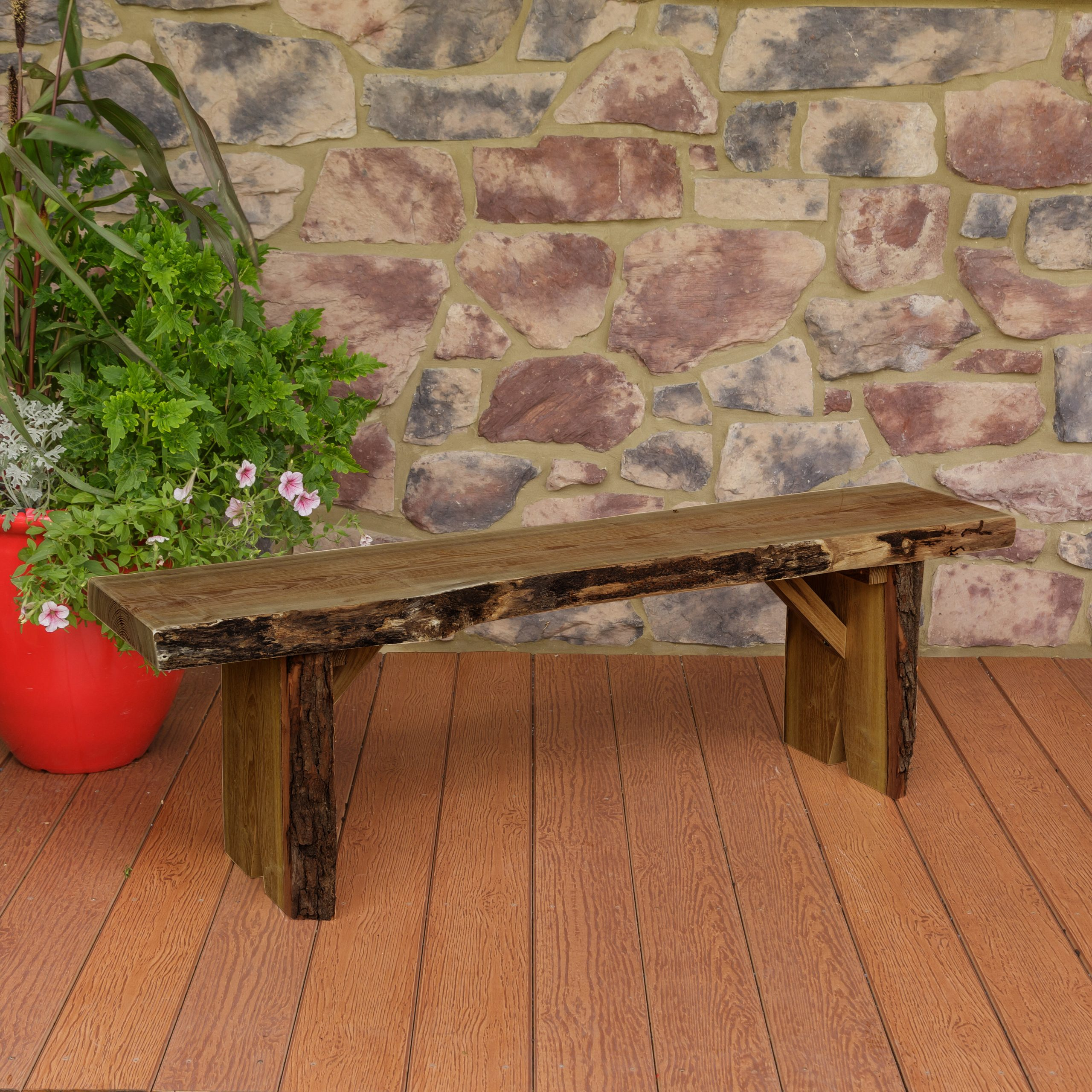 Bruggeman Live Edge Solid Wood Garden Bench Throughout Gabbert Wooden Garden Benches (View 14 of 25)