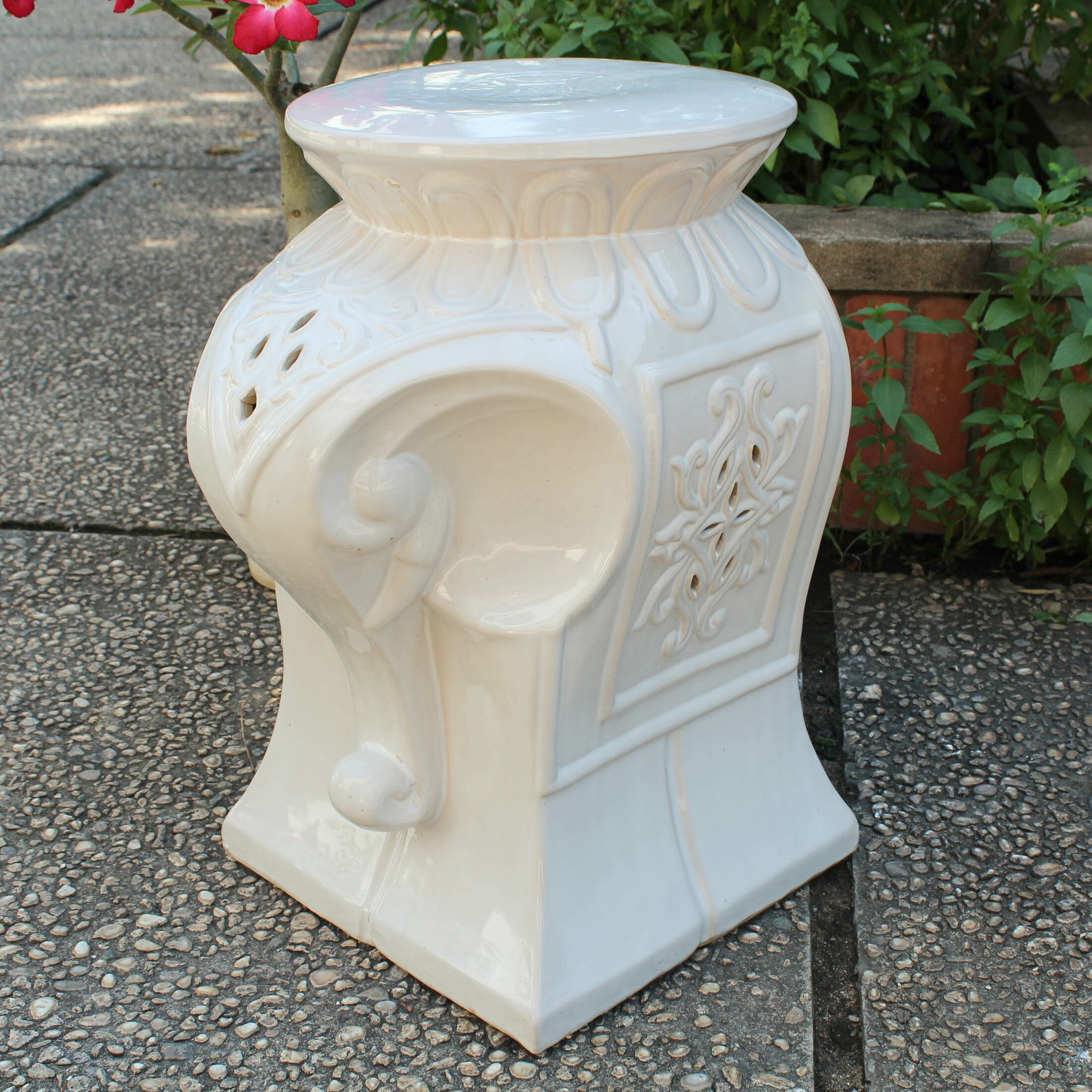 Burleson Elephant Ceramic Garden Stool Regarding Karlov Ceramic Garden Stools (View 12 of 25)