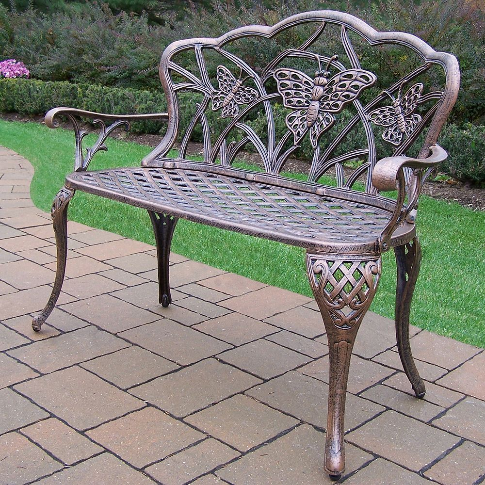 Butterfly Cast Aluminum Outdoor Bench, Multicolor In 2020 For Montezuma Cast Aluminum Garden Benches (View 7 of 25)
