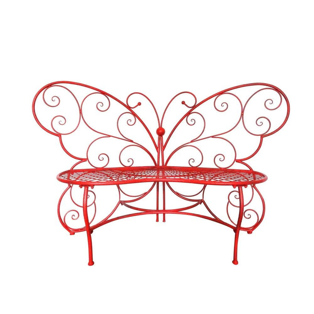 Butterfly Metal Bench Red – Alpine Corporation In 2020 Regarding Caryn Colored Butterflies Metal Garden Benches (View 4 of 25)