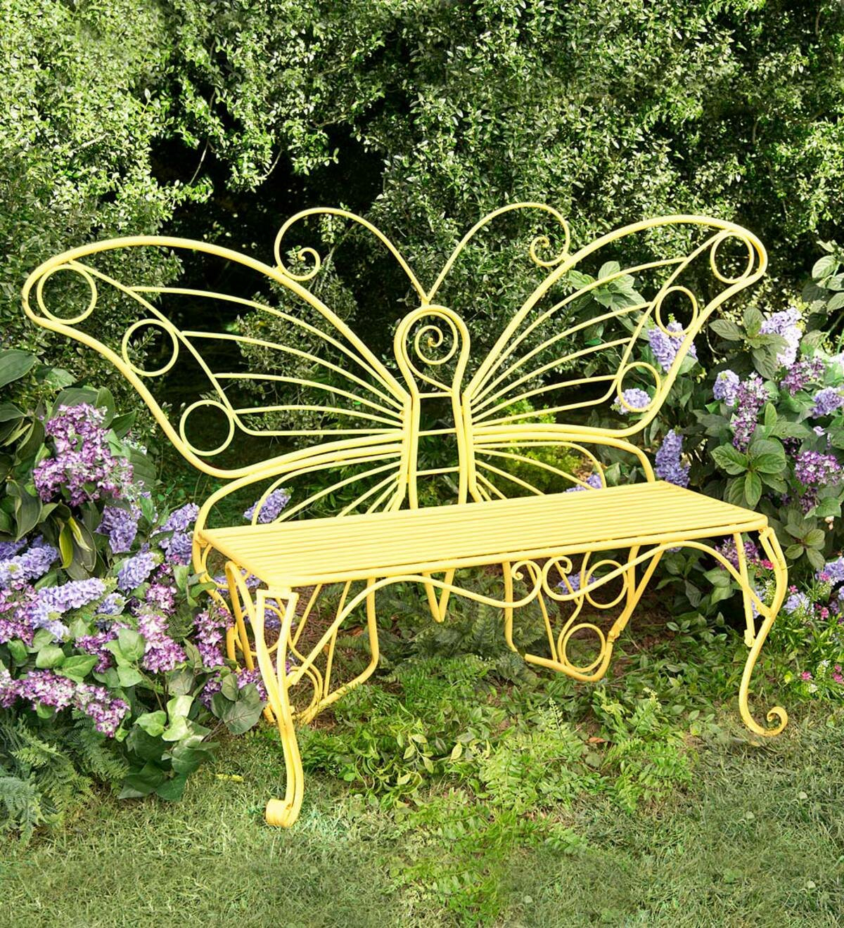 Butterfly Steel Garden Bench For Caryn Colored Butterflies Metal Garden Benches (View 2 of 25)