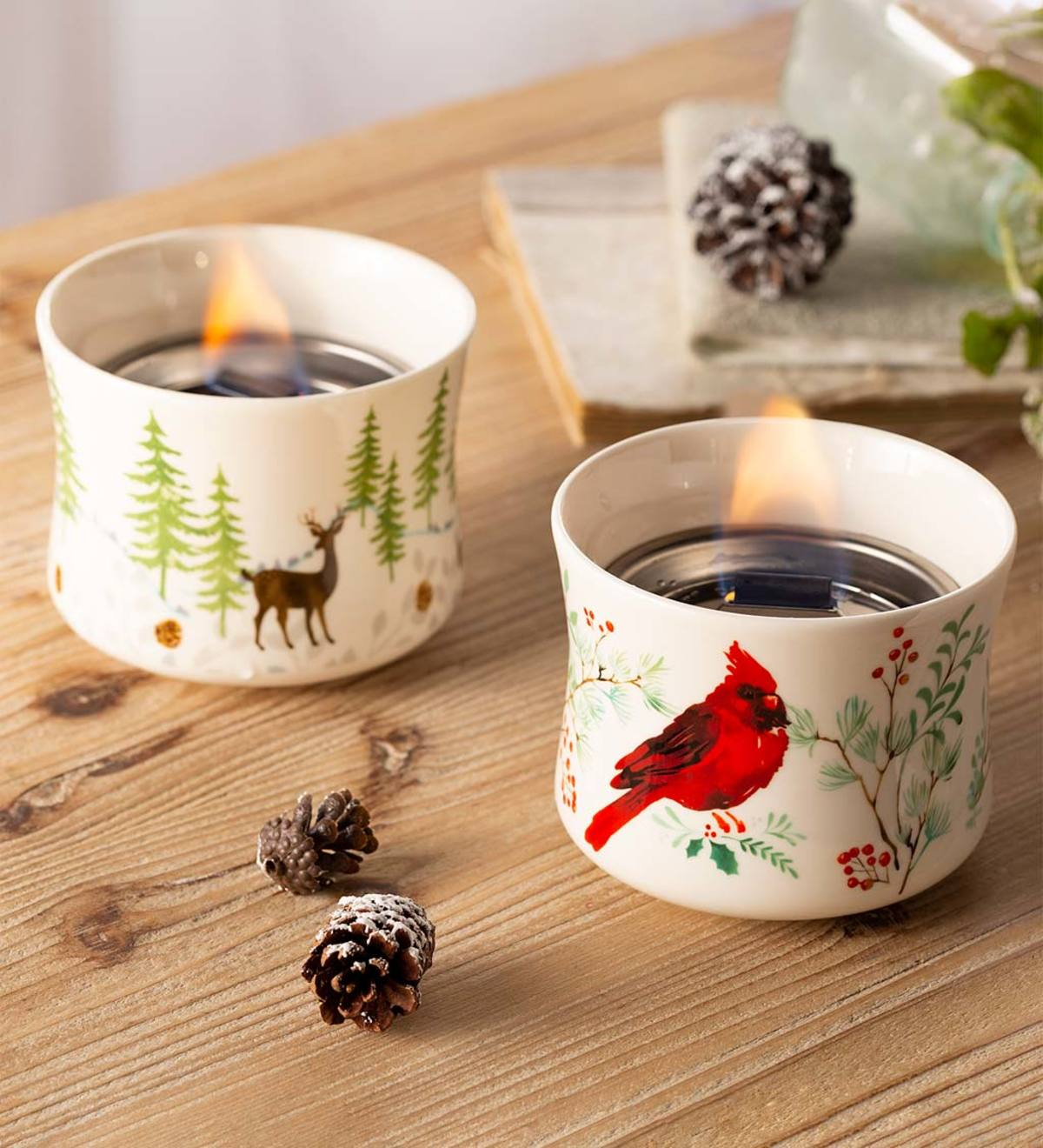 Cardinal And Deer Holiday Ceramic Oil Candles, Set Of 2 In Carmon Ceramic Garden Tool (View 23 of 25)