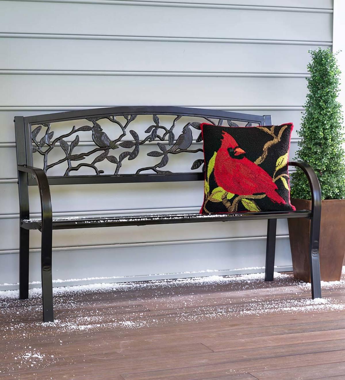 Cardinals Metal Garden Bench Throughout Flamingo Metal Garden Benches (View 7 of 25)