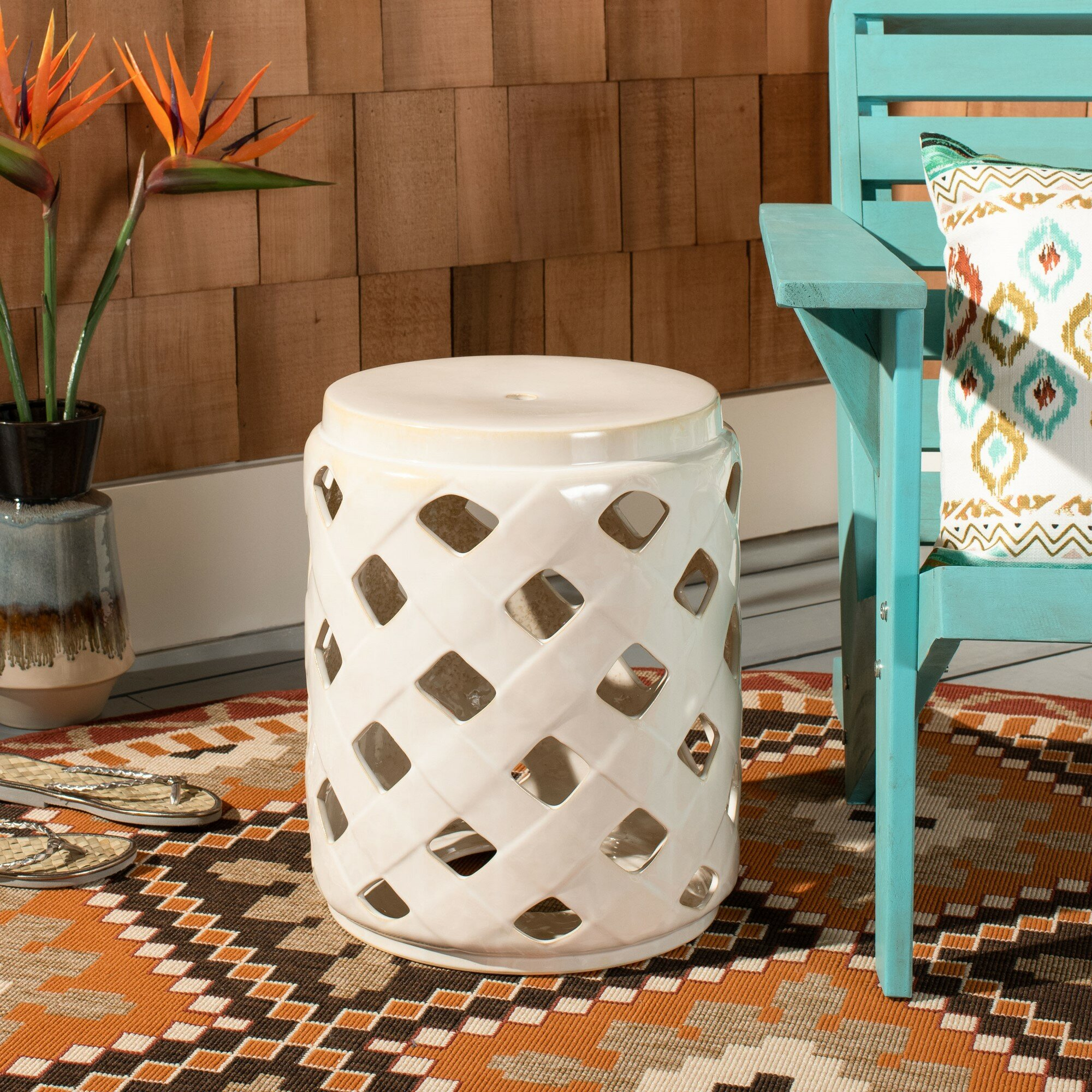 Caron Ceramic Garden Stool Pertaining To Harwich Ceramic Garden Stools (View 13 of 25)