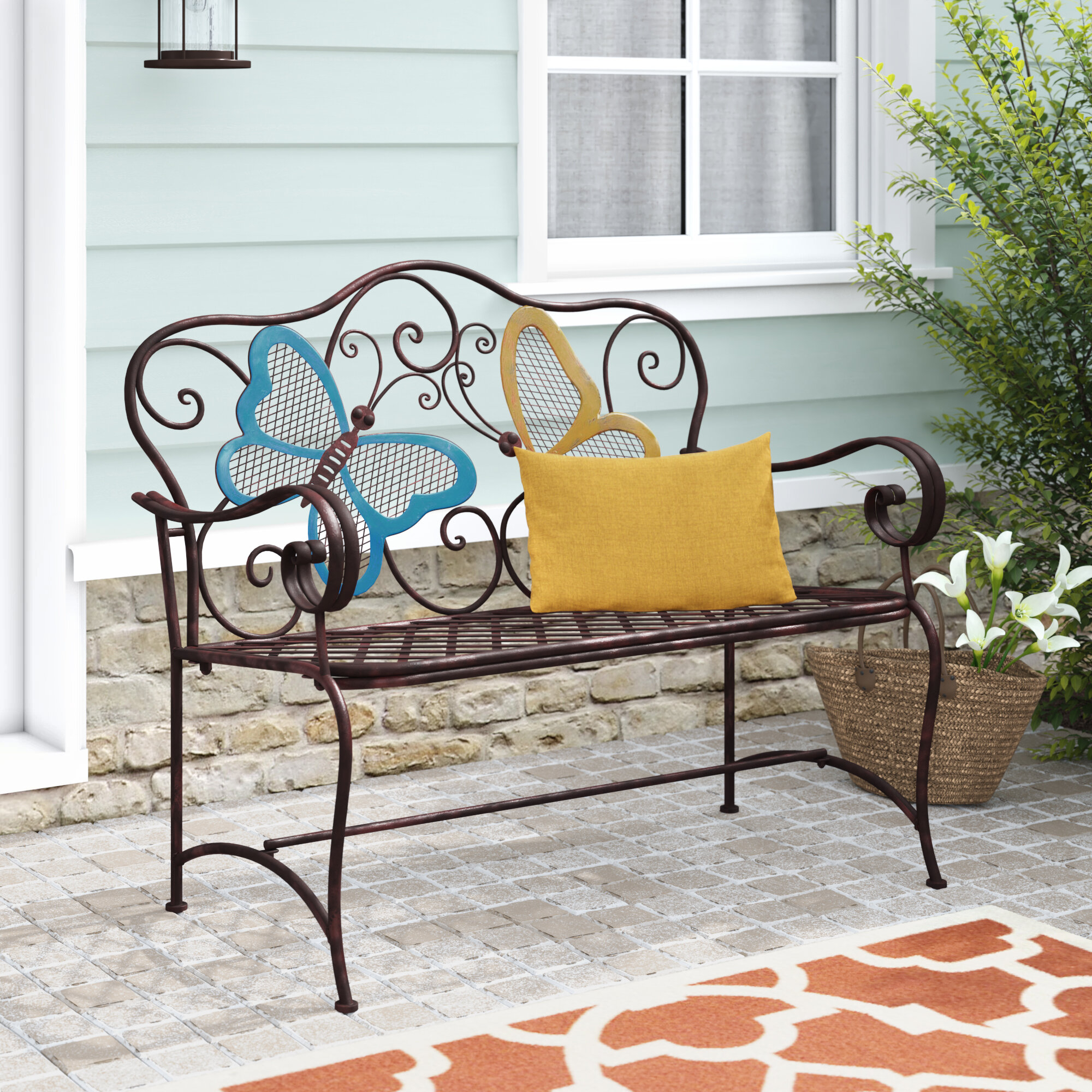 Featured Image of Caryn Colored Butterflies Metal Garden Benches