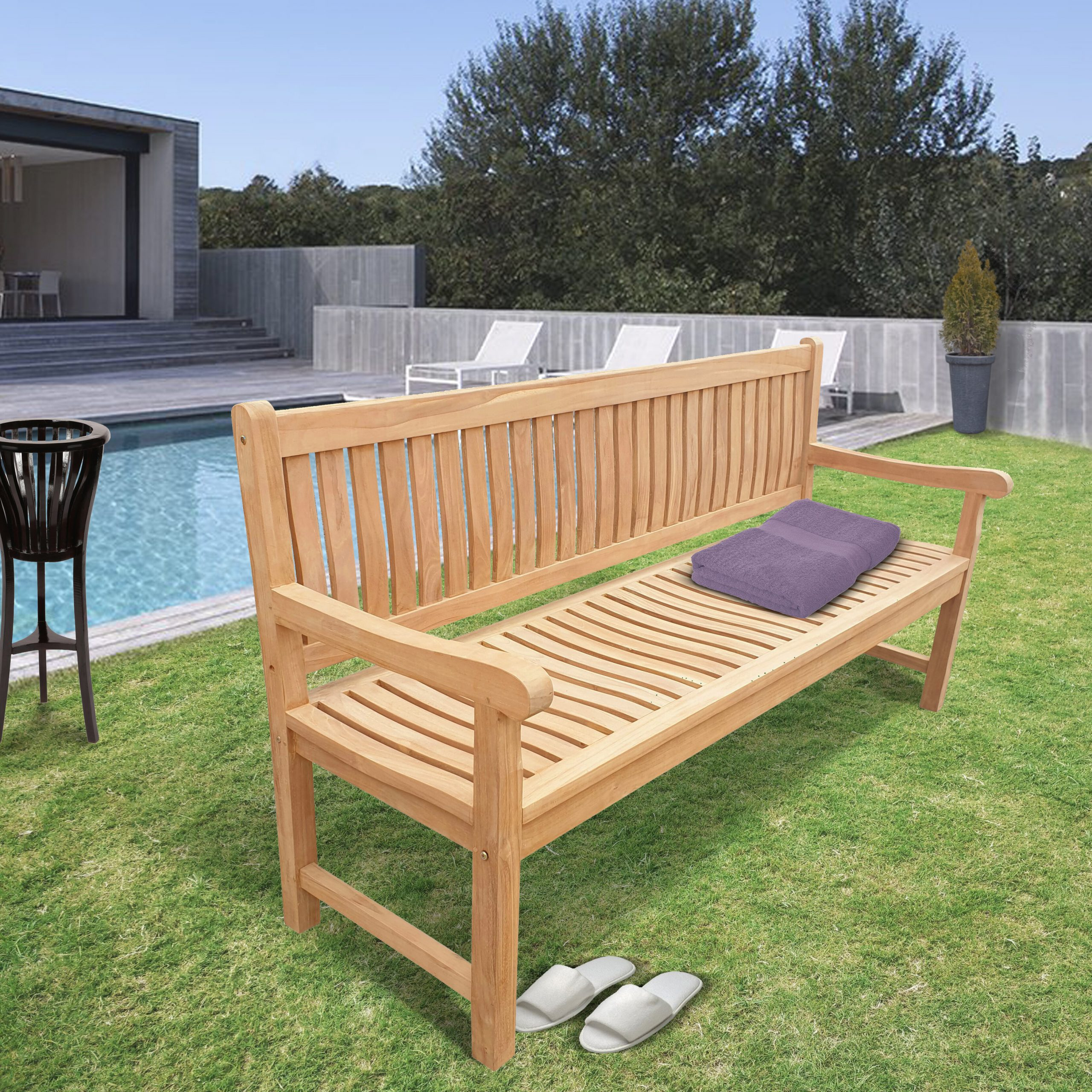 Casson Teak Garden Bench With Wallie Teak Garden Benches (View 7 of 25)