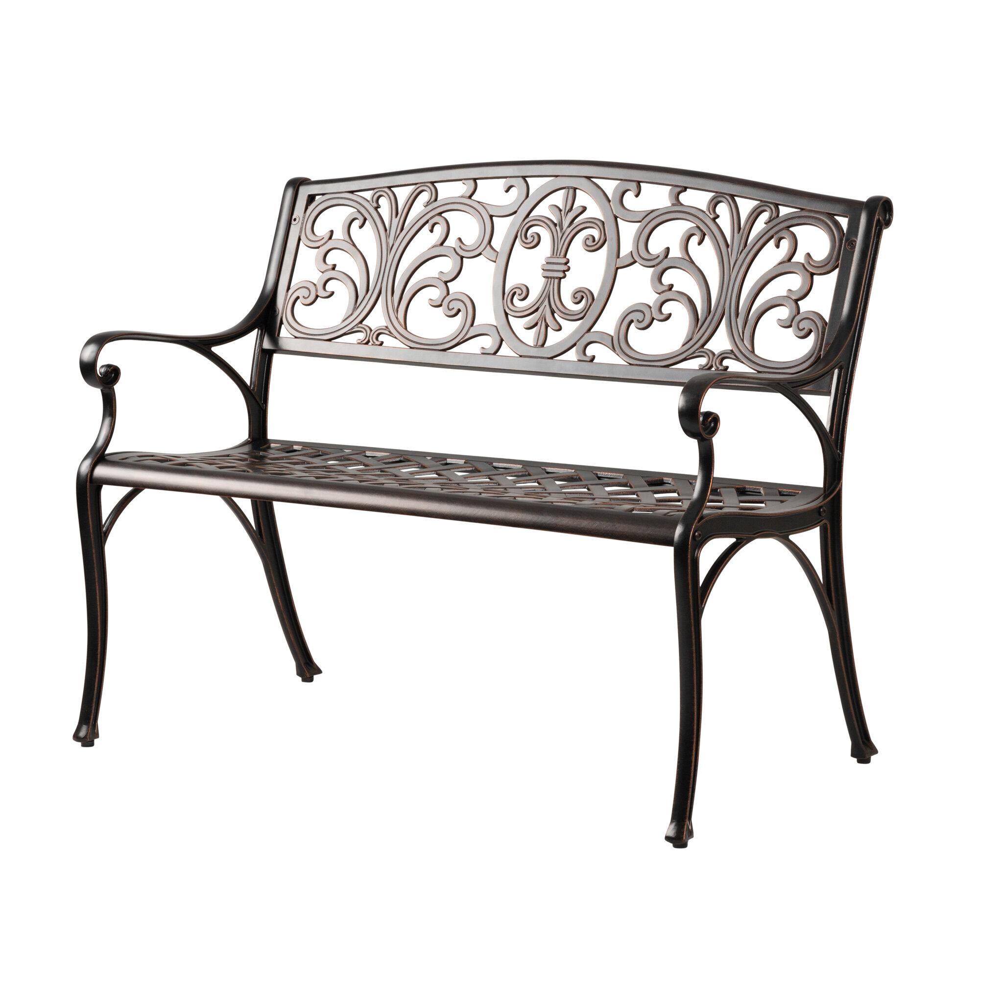 Cecillia Aluminum Garden Bench With Ismenia Checkered Outdoor Cast Aluminum Patio Garden Benches (View 12 of 25)