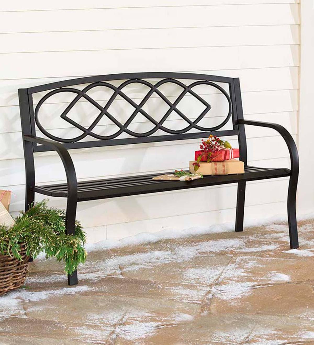Celtic Knot Garden Bench | Outdoor Garden Bench, Garden With Alvah Slatted Cast Iron And Tubular Steel Garden Benches (View 25 of 25)