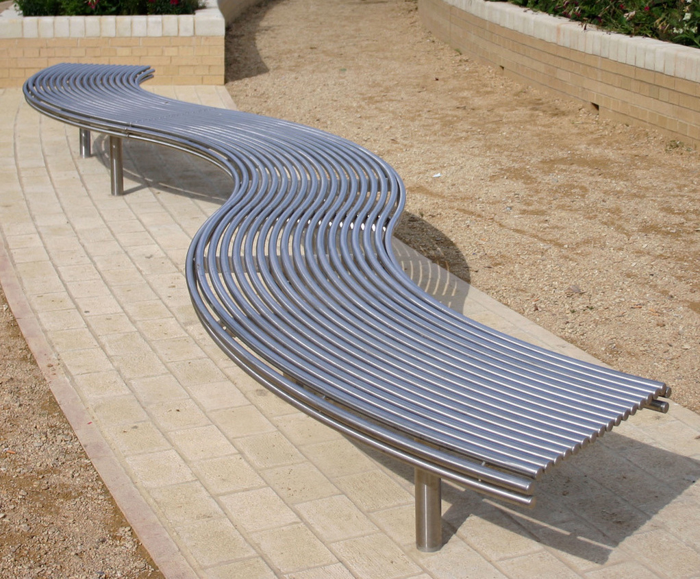 Centerline Cl007 Contemporary Curved Steel Benches Pertaining To Pauls Steel Garden Benches (View 10 of 25)