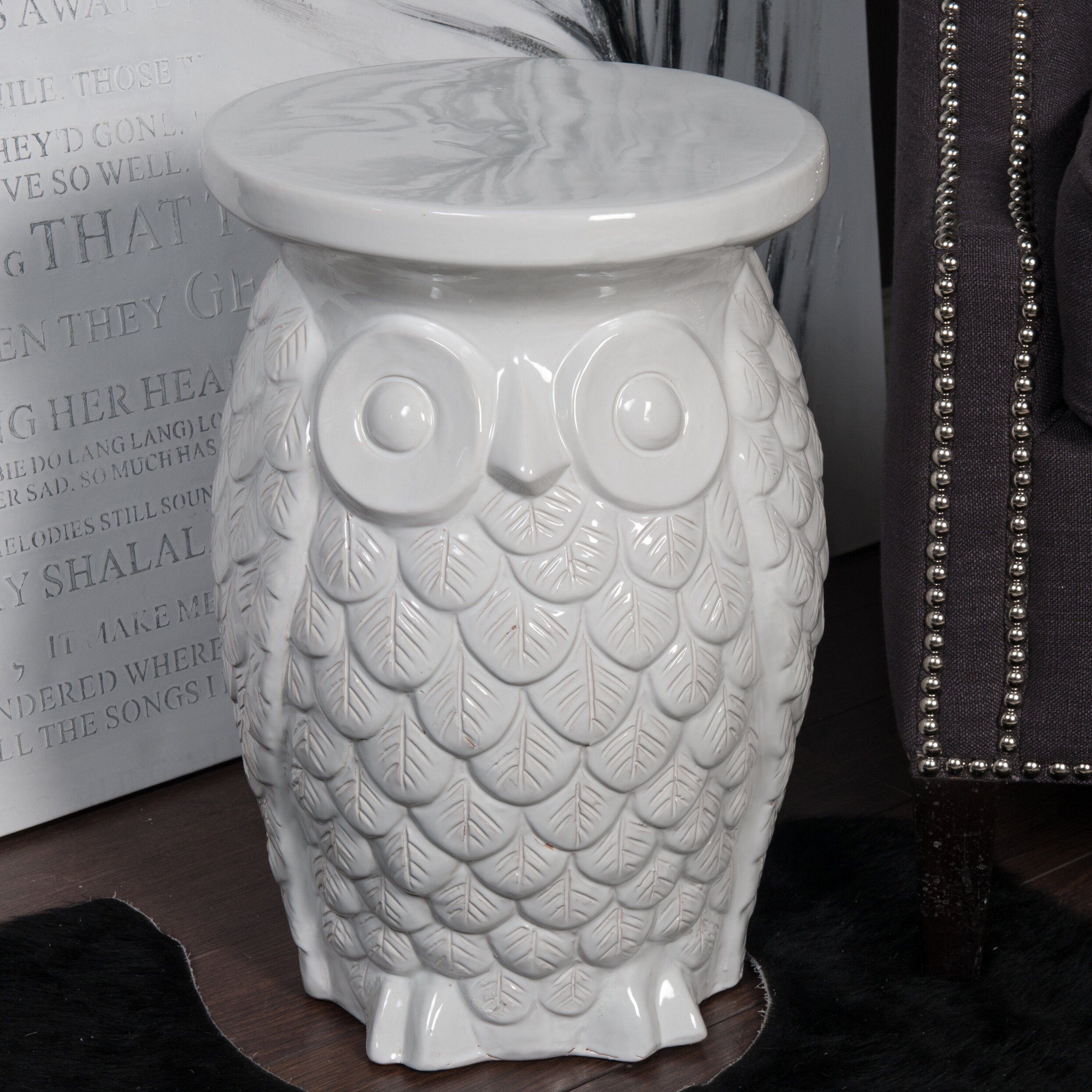 Ceramic Owl Garden Stool Intended For Svendsen Ceramic Garden Stools (View 14 of 25)