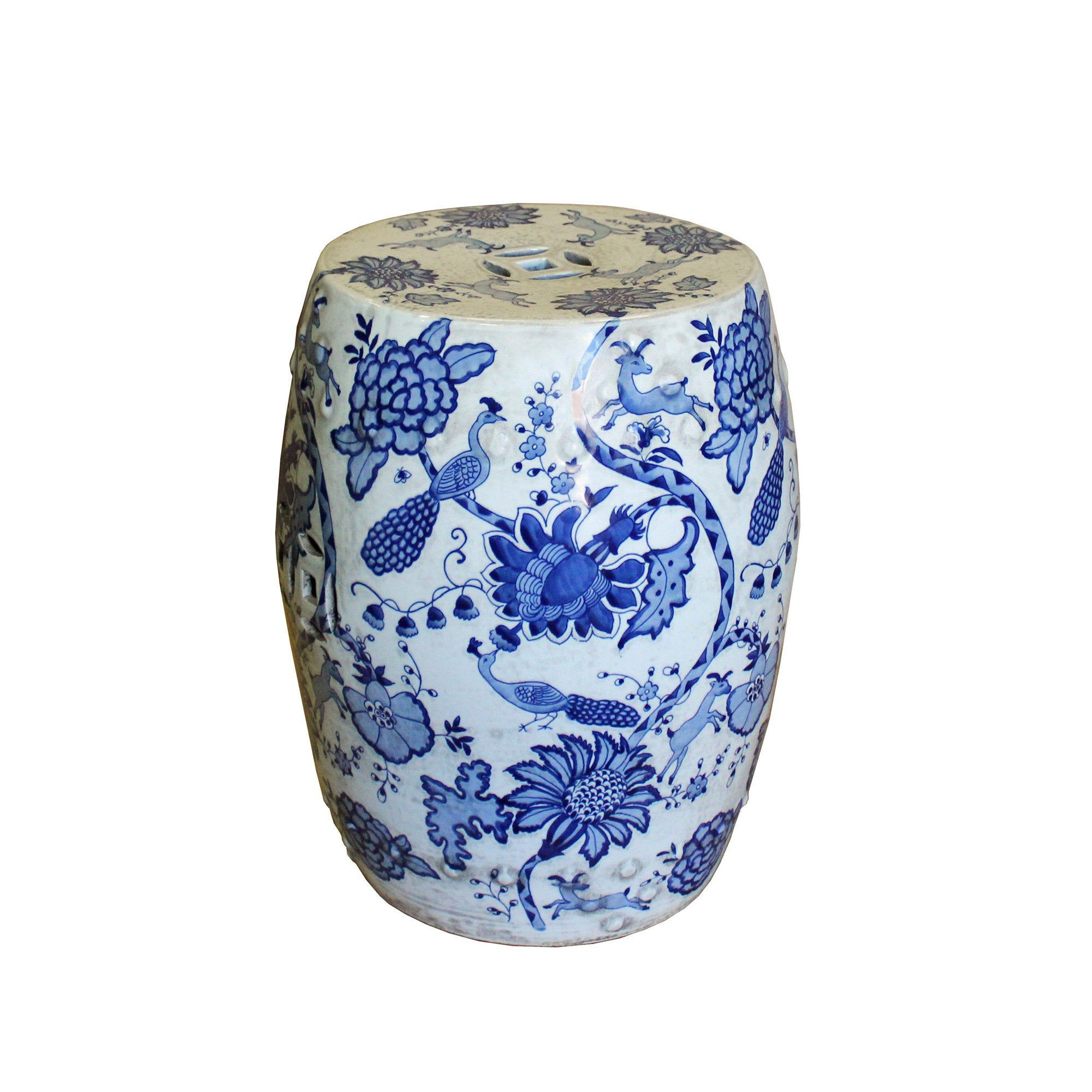 Chinese Blue & White Porcelain Round Flower Bird Stool Throughout Maci Tropical Birds Garden Stools (View 3 of 25)