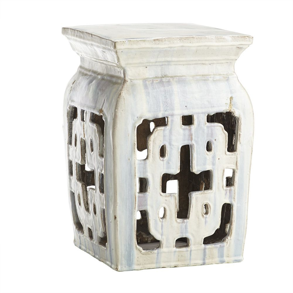 Chinese Grille Stool – White – New | Decor, Stool, Shabby Intended For Swanson Ceramic Garden Stools (View 16 of 25)