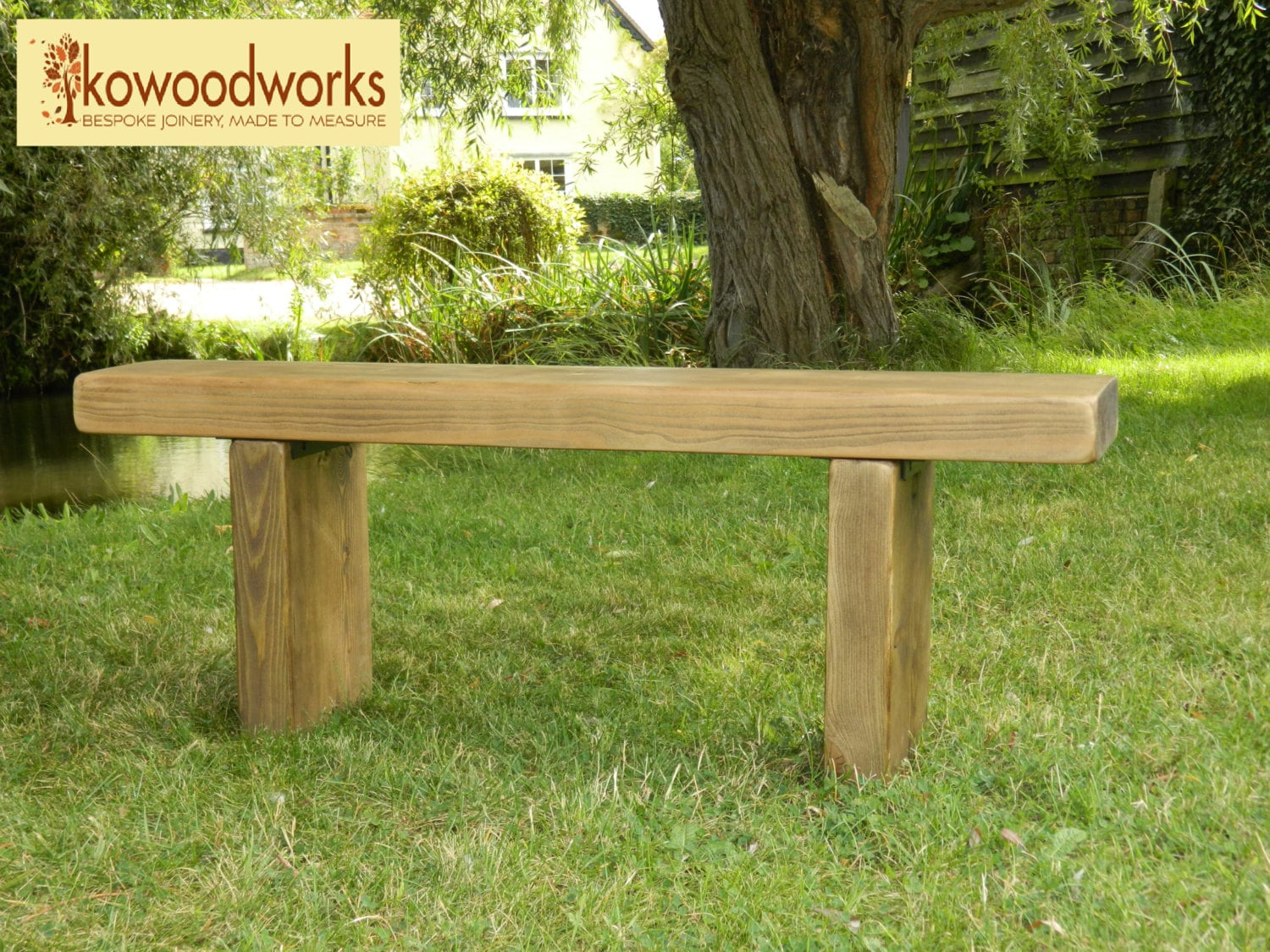 Chunky Rustic Solid Pine Garden Bench Seat Regarding Walnut Solid Wood Garden Benches (View 3 of 25)