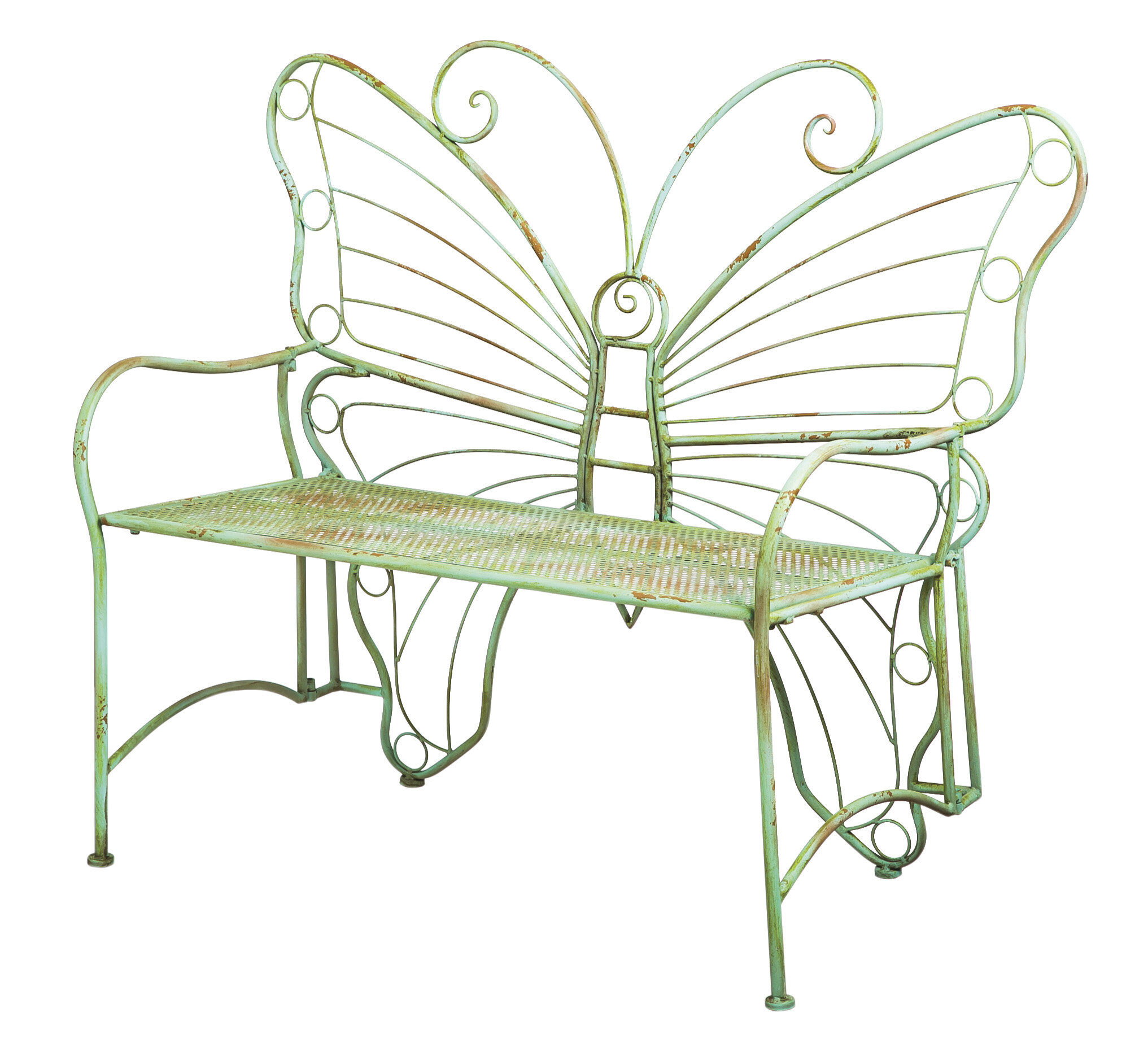 Clementina Butterfly Metal Park Bench With Regard To Caryn Colored Butterflies Metal Garden Benches (View 15 of 25)