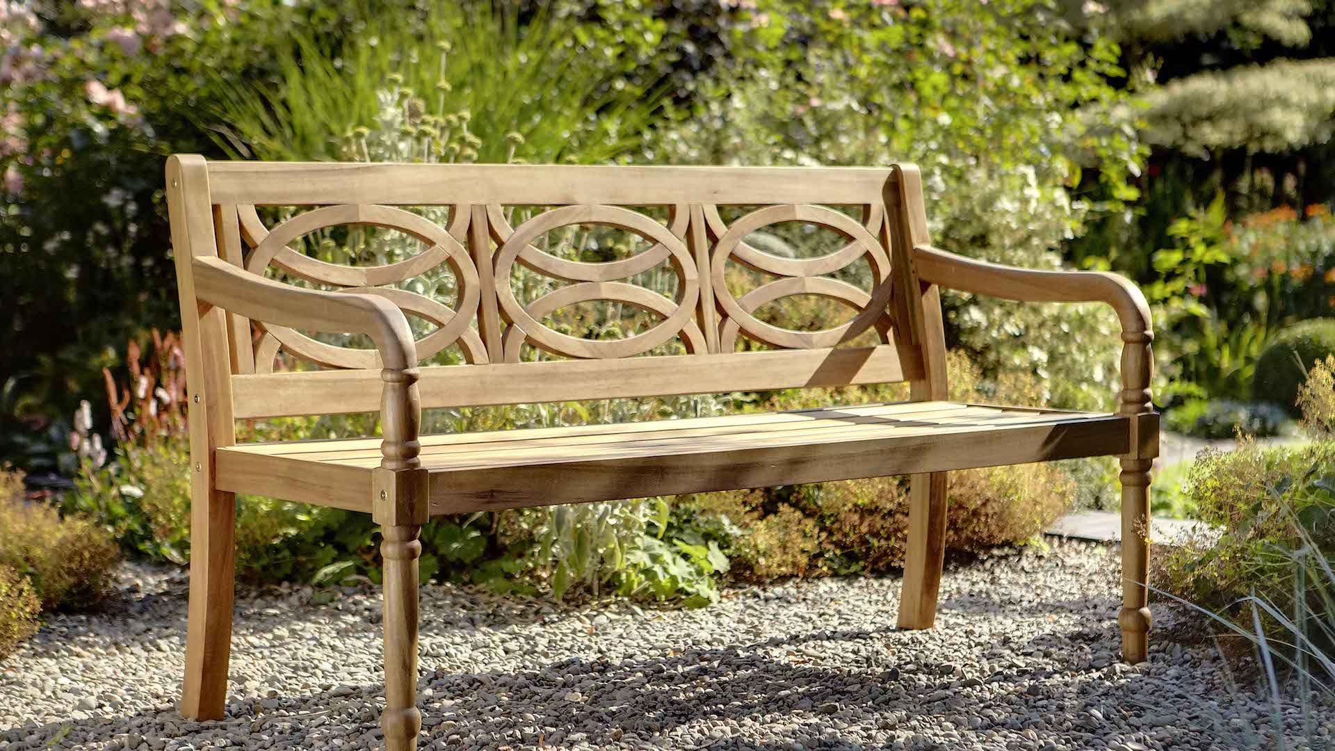 Cleobury 3 Seat Bench – Cleobury – Wood Garden Furniture With Amabel Patio Diamond Wooden Garden Benches (View 20 of 25)
