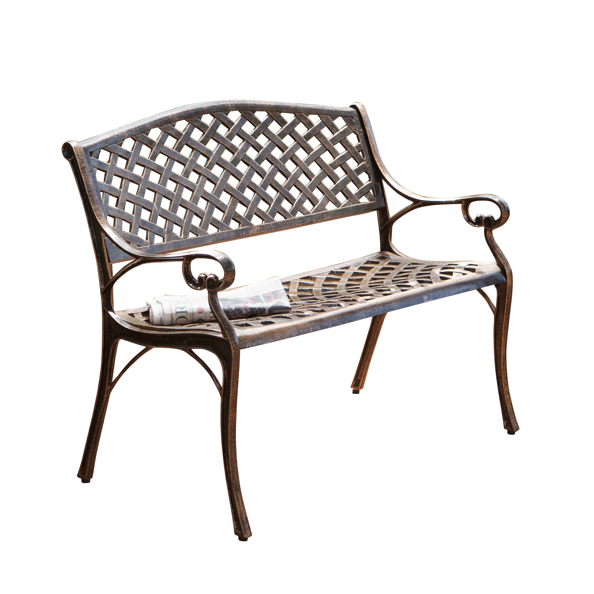 Clifford Cast Aluminum Garden Bench With Ismenia Checkered Outdoor Cast Aluminum Patio Garden Benches (View 8 of 25)