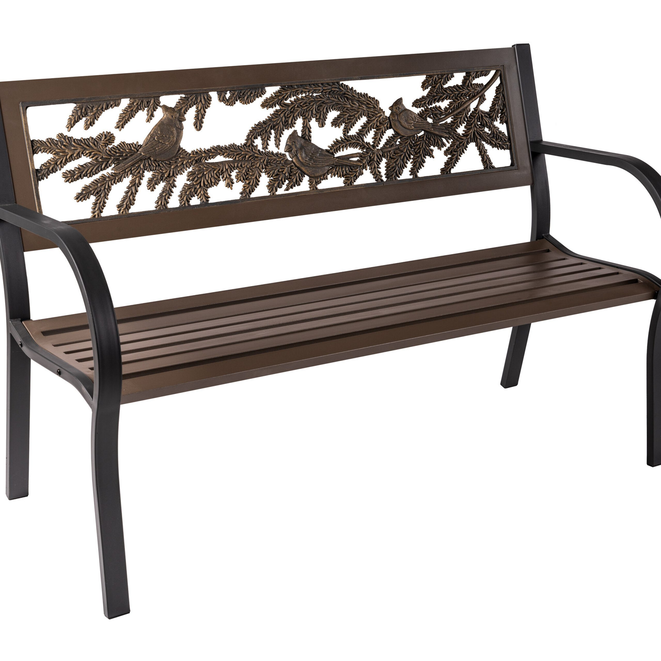 Coffman Tube Steel Park Bench Throughout Alvah Slatted Cast Iron And Tubular Steel Garden Benches (View 19 of 25)