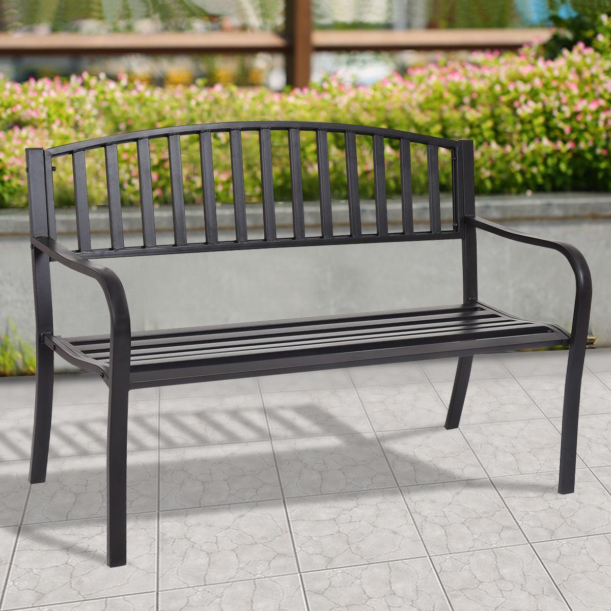 Costway 50'' Patio Garden Bench Park Yard Outdoor Furniture Steel Slats Porch Chair Seat – Walmart Inside Michelle Metal Garden Benches (View 8 of 25)