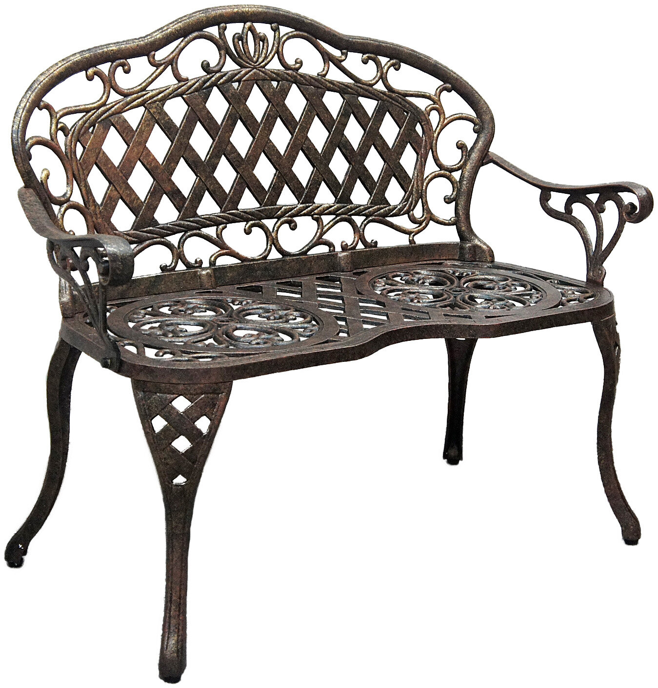 Creedmoor Cast Aluminum Garden Bench In Krystal Ergonomic Metal Garden Benches (View 2 of 25)