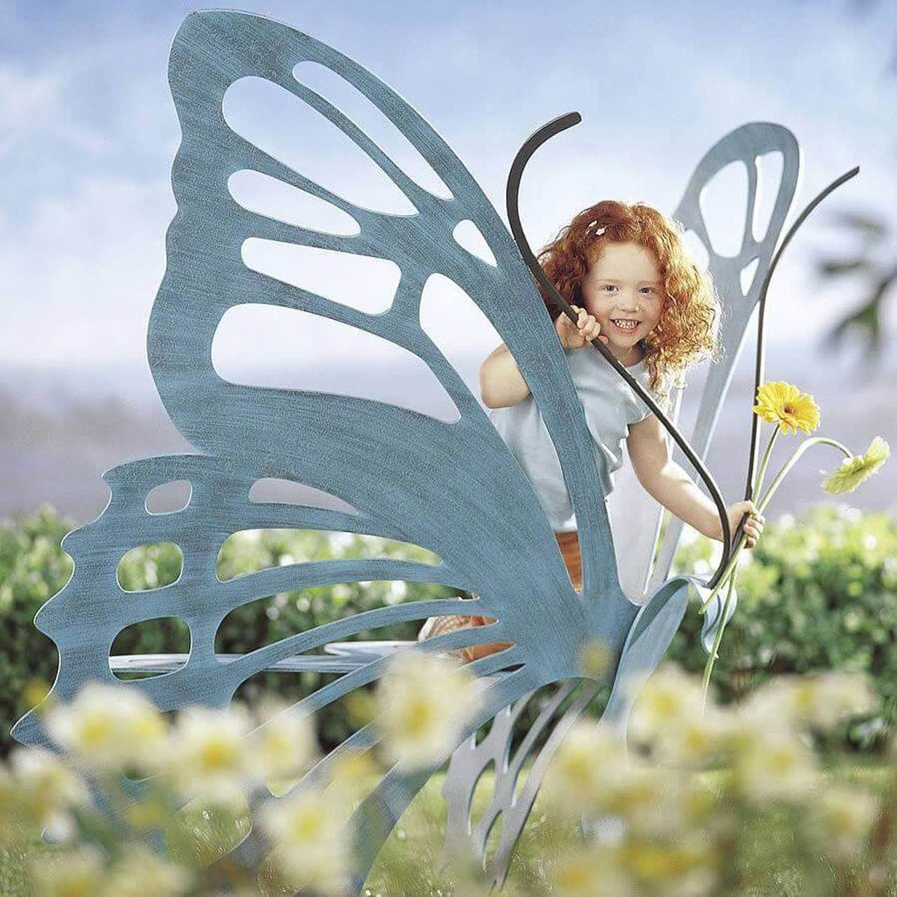 Cricket Forge Butterfly Bench & Tables | Outdoor Metal Pertaining To Caryn Colored Butterflies Metal Garden Benches (View 18 of 25)