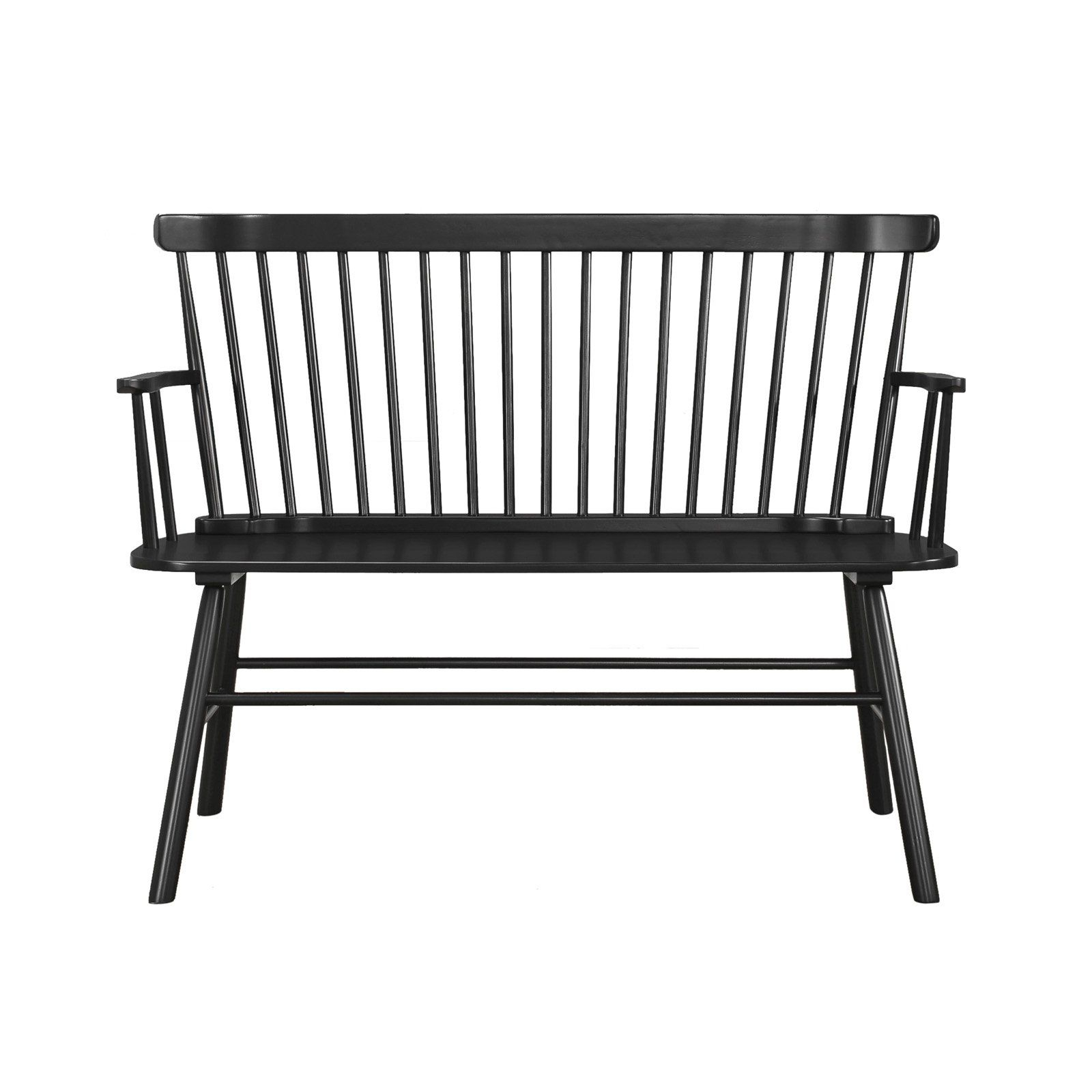 Crown Mark Jerimiah Spindleback Bench | Solid Wood Benches With Regard To Alvah Slatted Cast Iron And Tubular Steel Garden Benches (View 21 of 25)