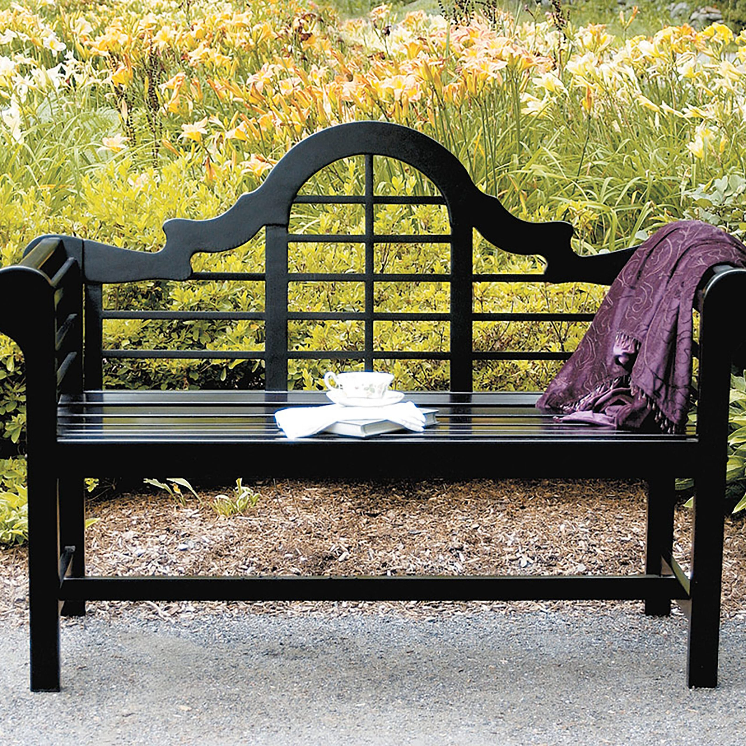 Cushionless Outdoor Benches You'Ll Love In 2020 | Wayfair Within Aranita Tree Of Life Iron Garden Benches (View 6 of 25)