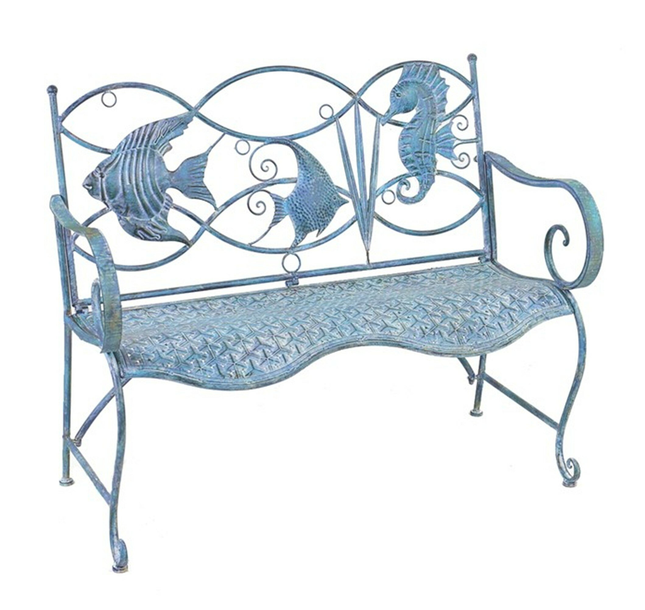 Dash Fish And Seahorse Back Metal Garden Bench Intended For Michelle Metal Garden Benches (View 6 of 25)