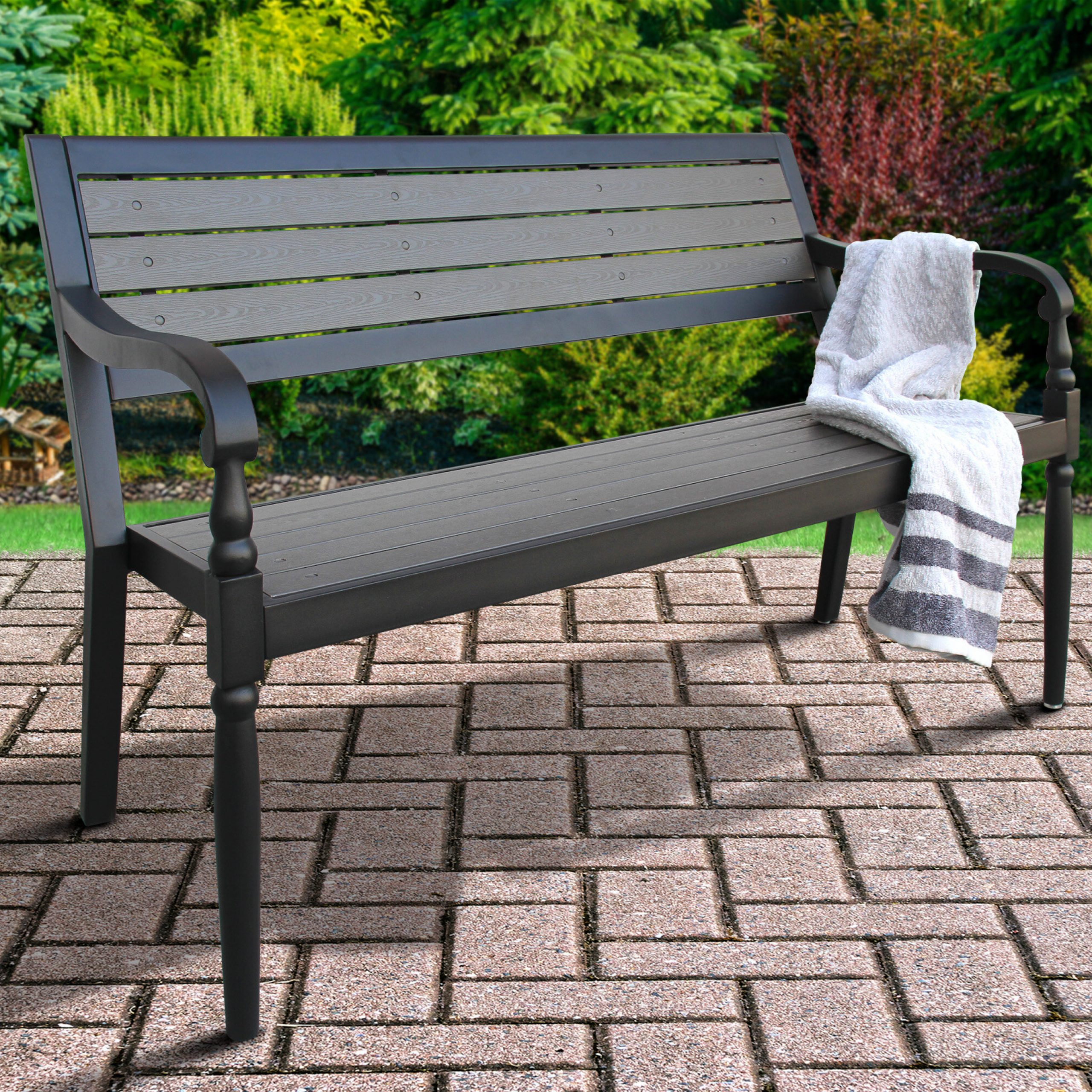 Deaux Metal Garden Bench With Montezuma Cast Aluminum Garden Benches (View 21 of 25)
