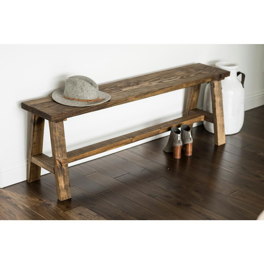 Del Hutson Designs Classic Dark Walnut Pine Wood Bench, Long With Regard To Walnut Solid Wood Garden Benches (View 13 of 25)