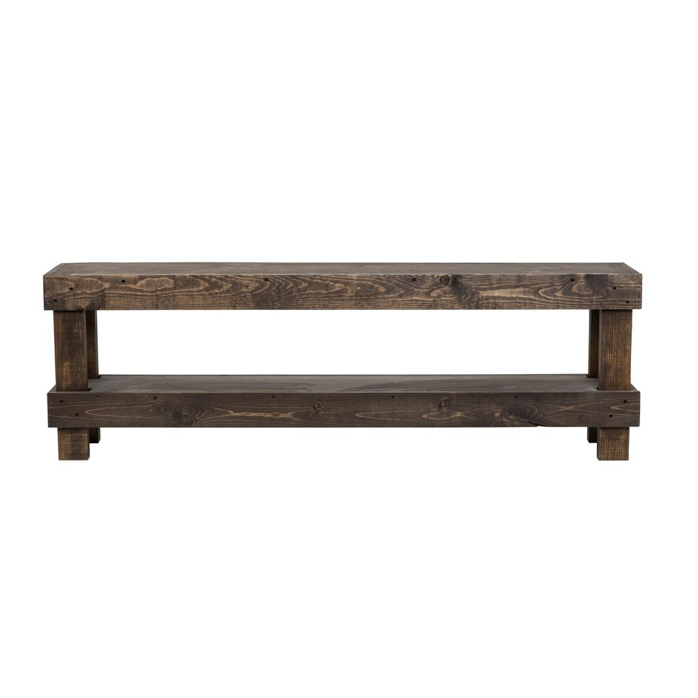 Del Hutson Designs Rustic Dark Walnut Contemporary Farmhouse Solid Wood Bench Large Dhd1315Dw – The Home Depot With Regard To Walnut Solid Wood Garden Benches (View 9 of 25)