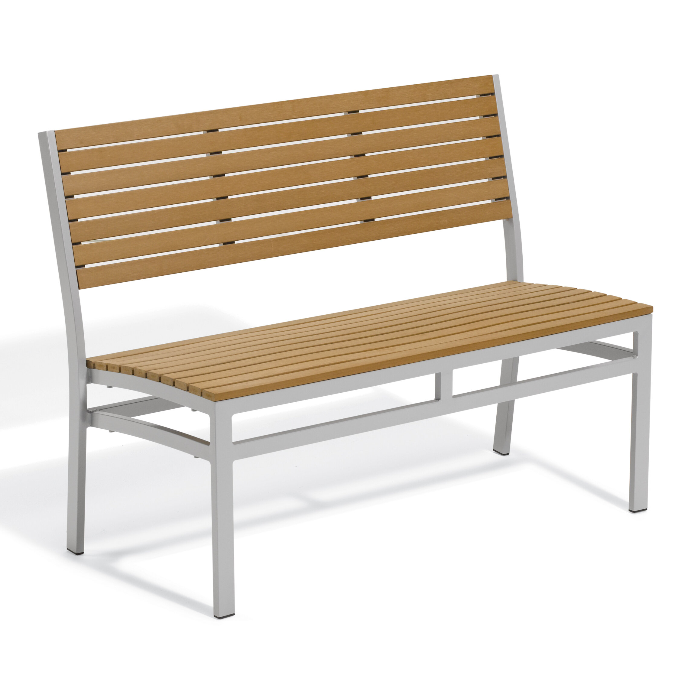 Denson Aluminum Garden Bench Pertaining To Alvah Slatted Cast Iron And Tubular Steel Garden Benches (View 22 of 25)