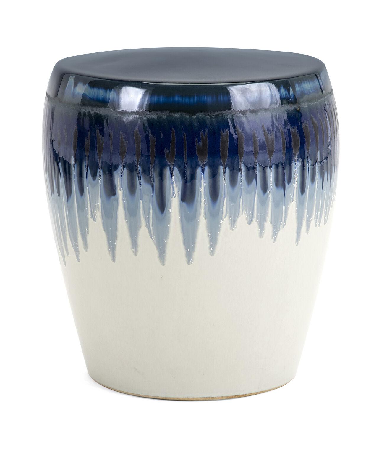 Details About Imax Hamako Ceramic Garden Stool In Blue Finish 13724 Regarding Janke Floral Garden Stools (View 17 of 25)