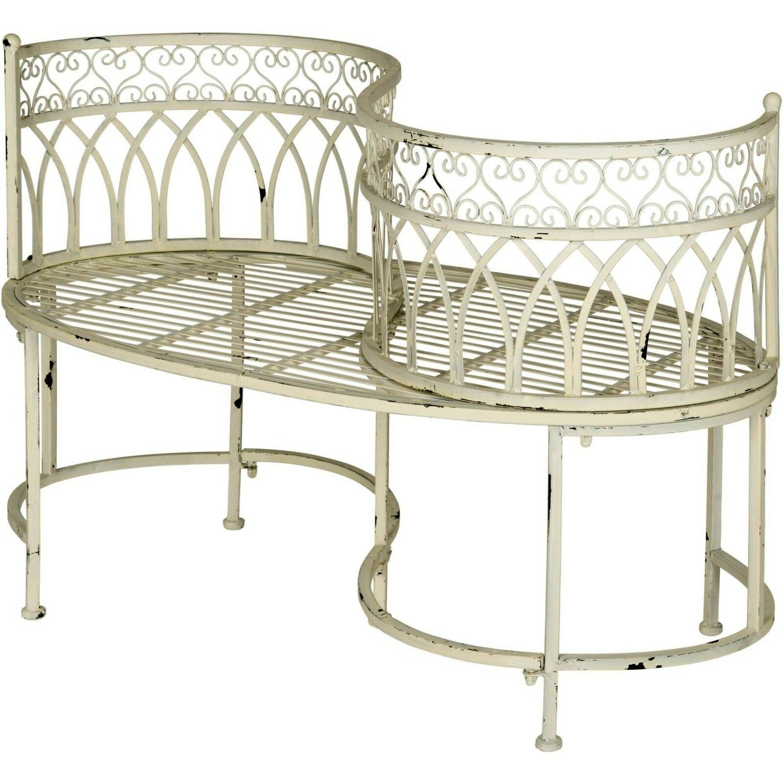 Details About Kissing Bench Curved Metal Tete A Tete Garden Chair Outdoor Vintage Patio Seat With Regard To Wicker Tete A Tete Benches (View 15 of 25)