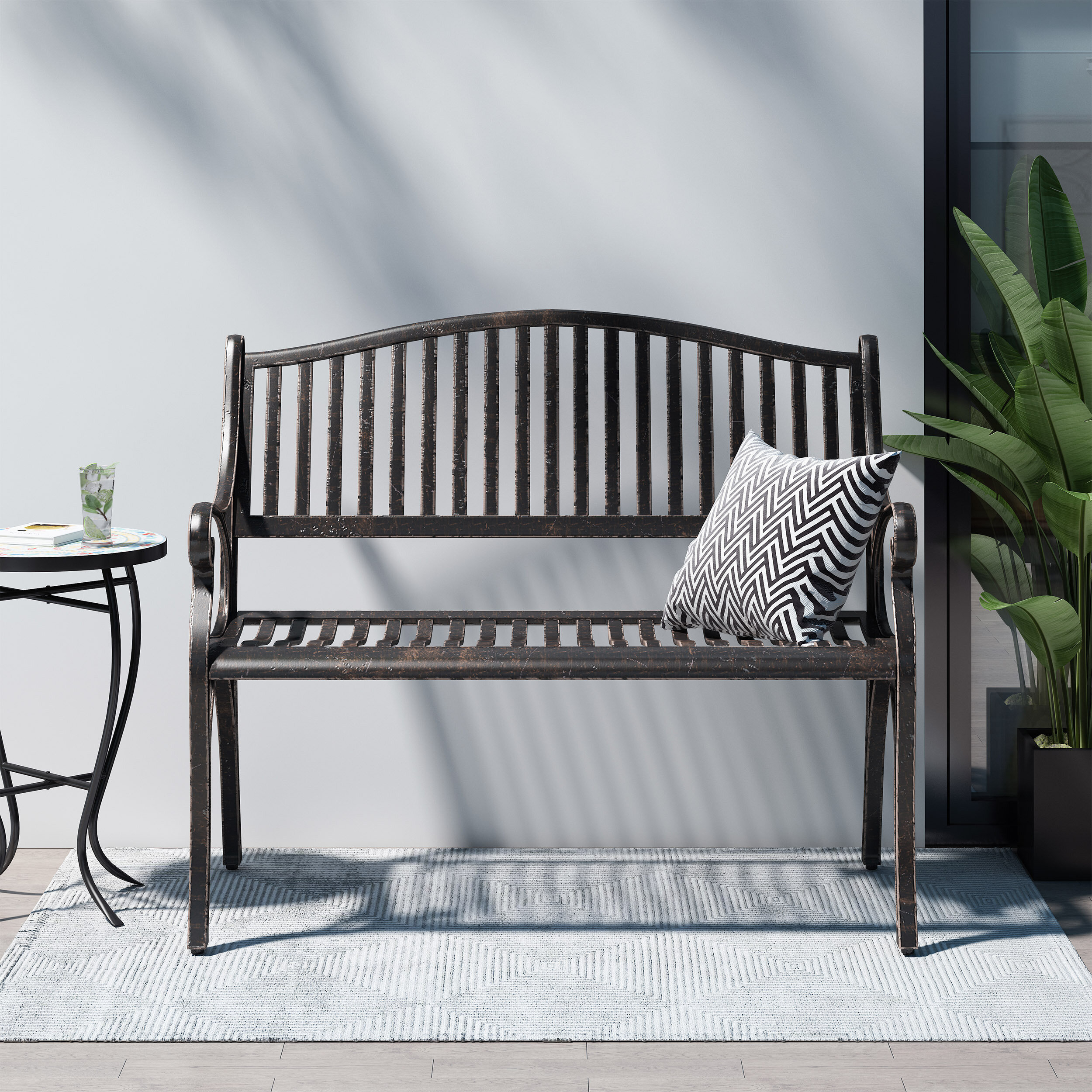 Doggerville Outdoor Traditional Cast Aluminum Bench In Ismenia Checkered Outdoor Cast Aluminum Patio Garden Benches (View 23 of 25)