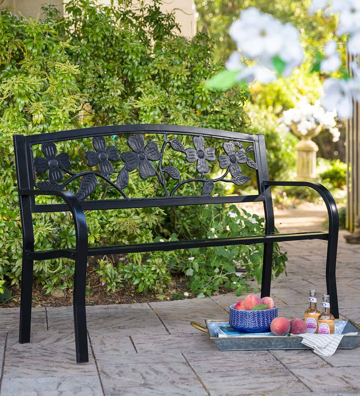 Dogwood Metal Garden Bench – Black | Plowhearth Intended For Coleen Outdoor Teak Garden Benches (View 21 of 25)