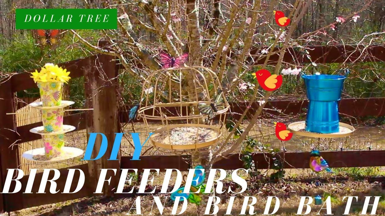 Dollar Tree Diy | Bird Feeders & Birth Bath | Diy Bird Intended For Glendale Heights Birds And Butterflies Garden Stools (View 19 of 25)