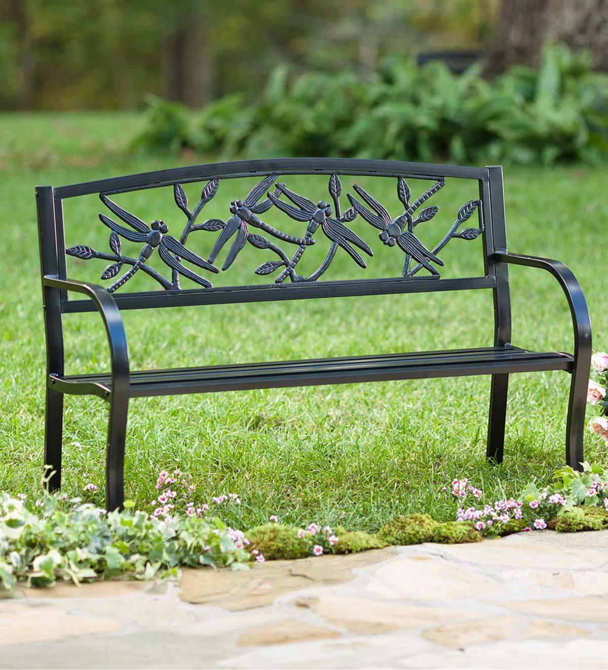 Dragonfly Metal Garden Bench Regarding Celtic Knot Iron Garden Benches (View 17 of 25)