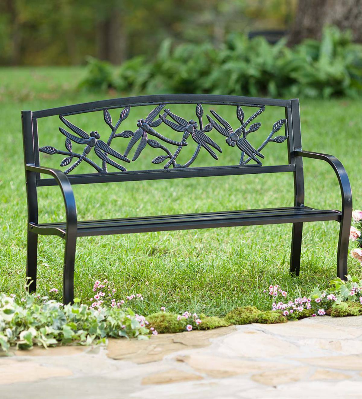 Dragonfly Metal Garden Bench With Regard To Blooming Iron Garden Benches (View 13 of 25)
