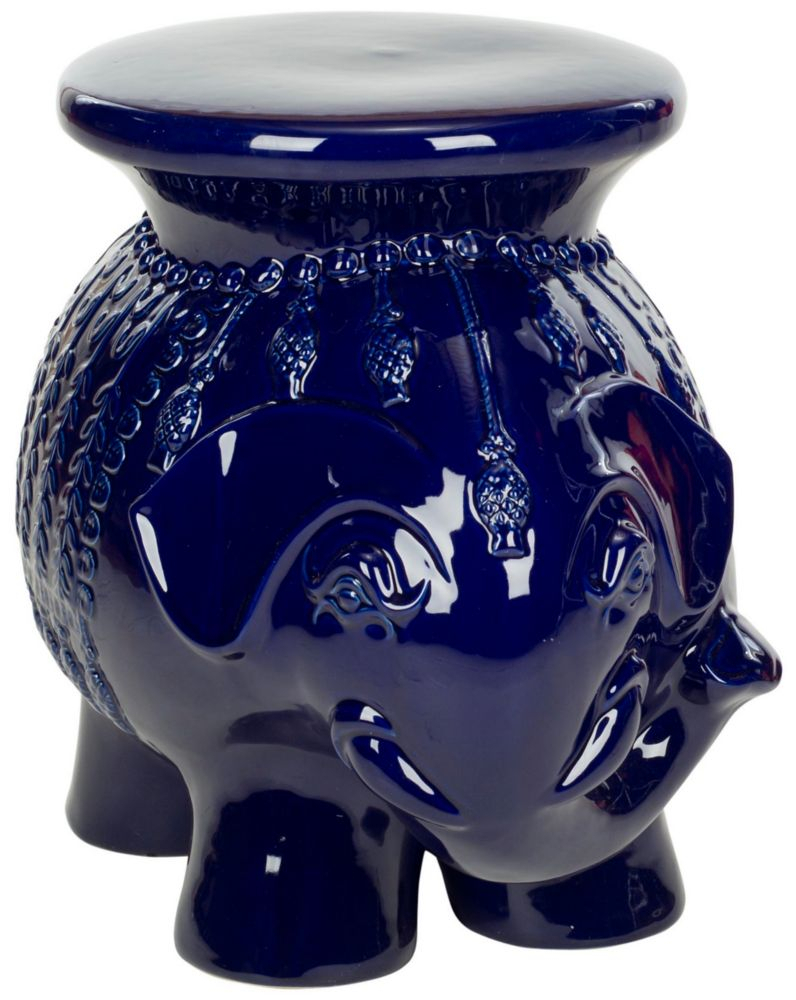 Elephant Ceramic Patio Stool In Navy For Harwich Ceramic Garden Stools (View 18 of 25)