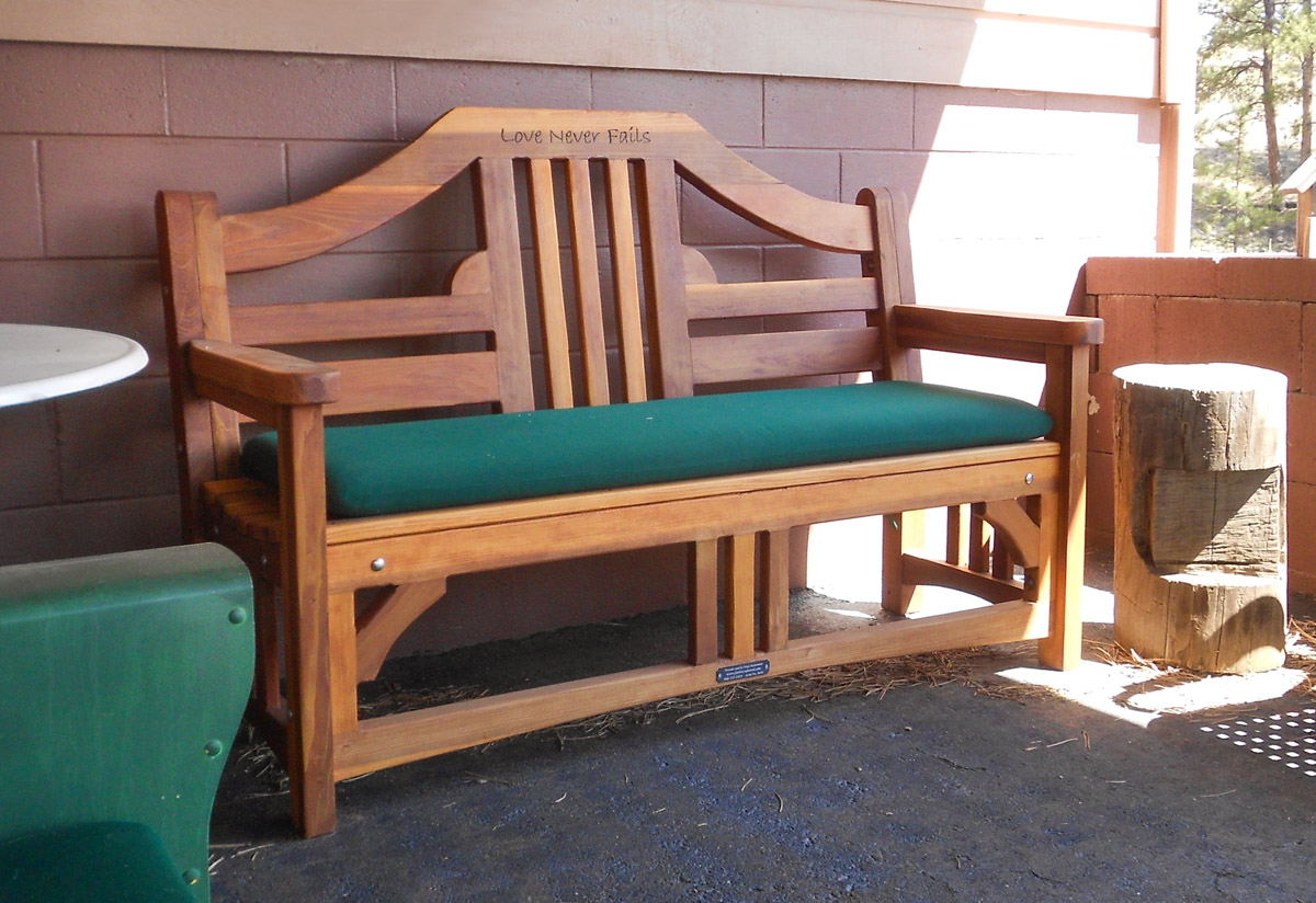 Engraved Outdoor Wood Bench | Forever Redwood Intended For Pauls Steel Garden Benches (View 17 of 25)