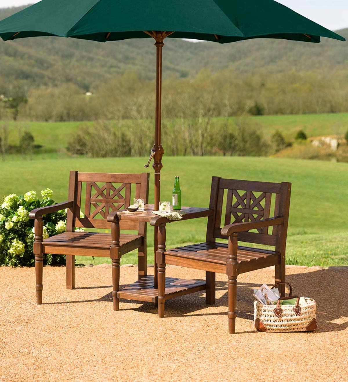 Eucalyptus Tete A Tete Set With Detachable Chairs | Plowhearth With Wicker Tete A Tete Benches (View 19 of 25)
