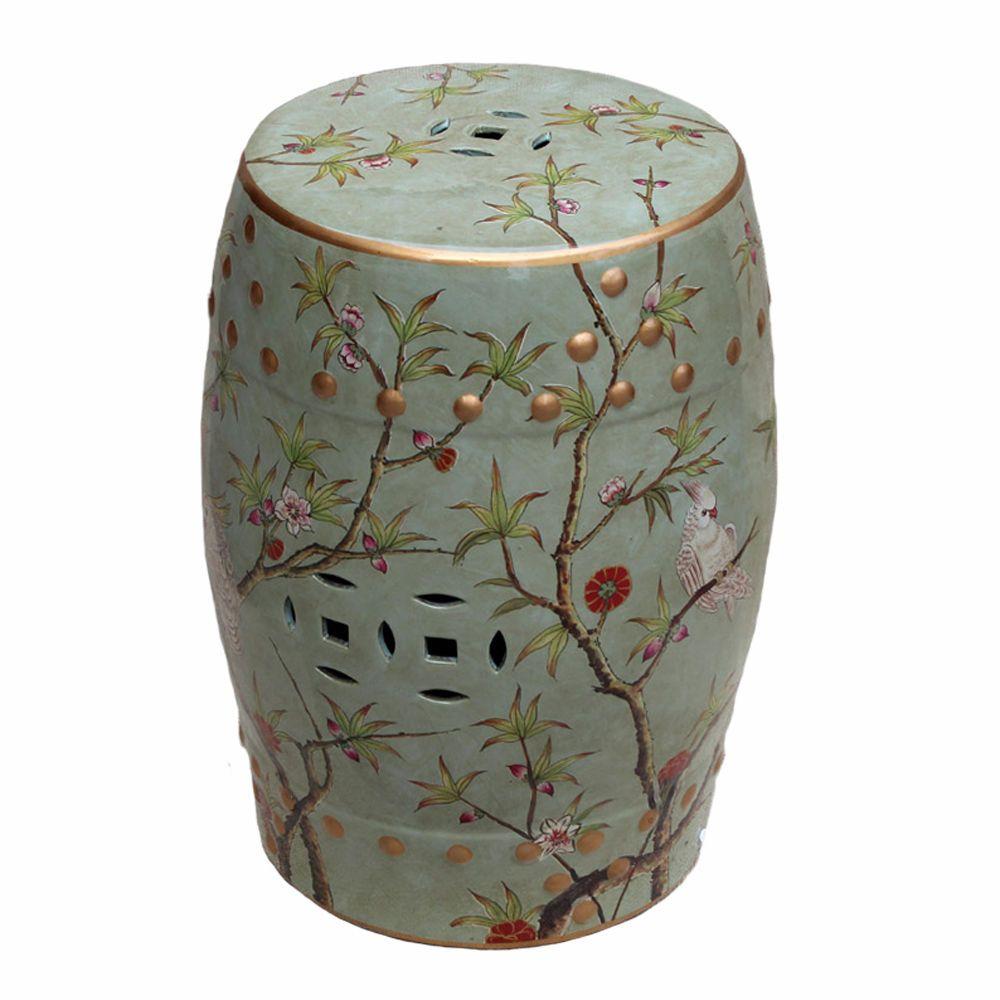 Famille Rose, Green, Bird & Floral Motif, Chinese Garden Regarding Janke Floral Garden Stools (View 7 of 25)