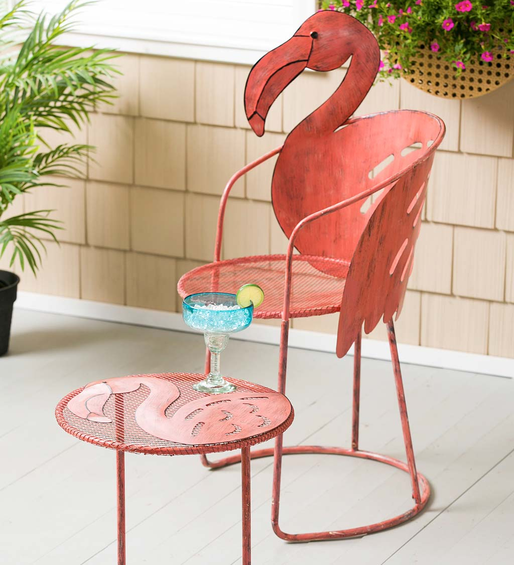 Flamingo Chair And Side Table Set | Wind And Weather Throughout Flamingo Metal Garden Benches (View 4 of 25)