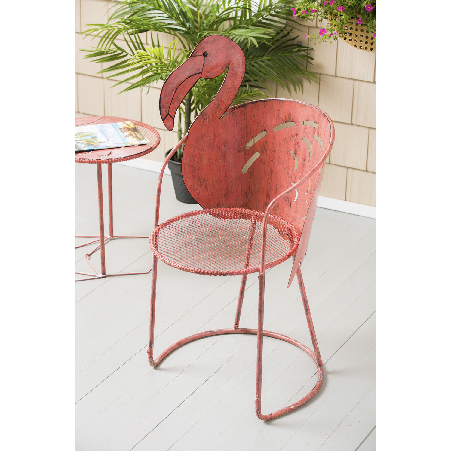 Flamingo Iron Bistro Table With Chair For Flamingo Metal Garden Benches (View 6 of 25)